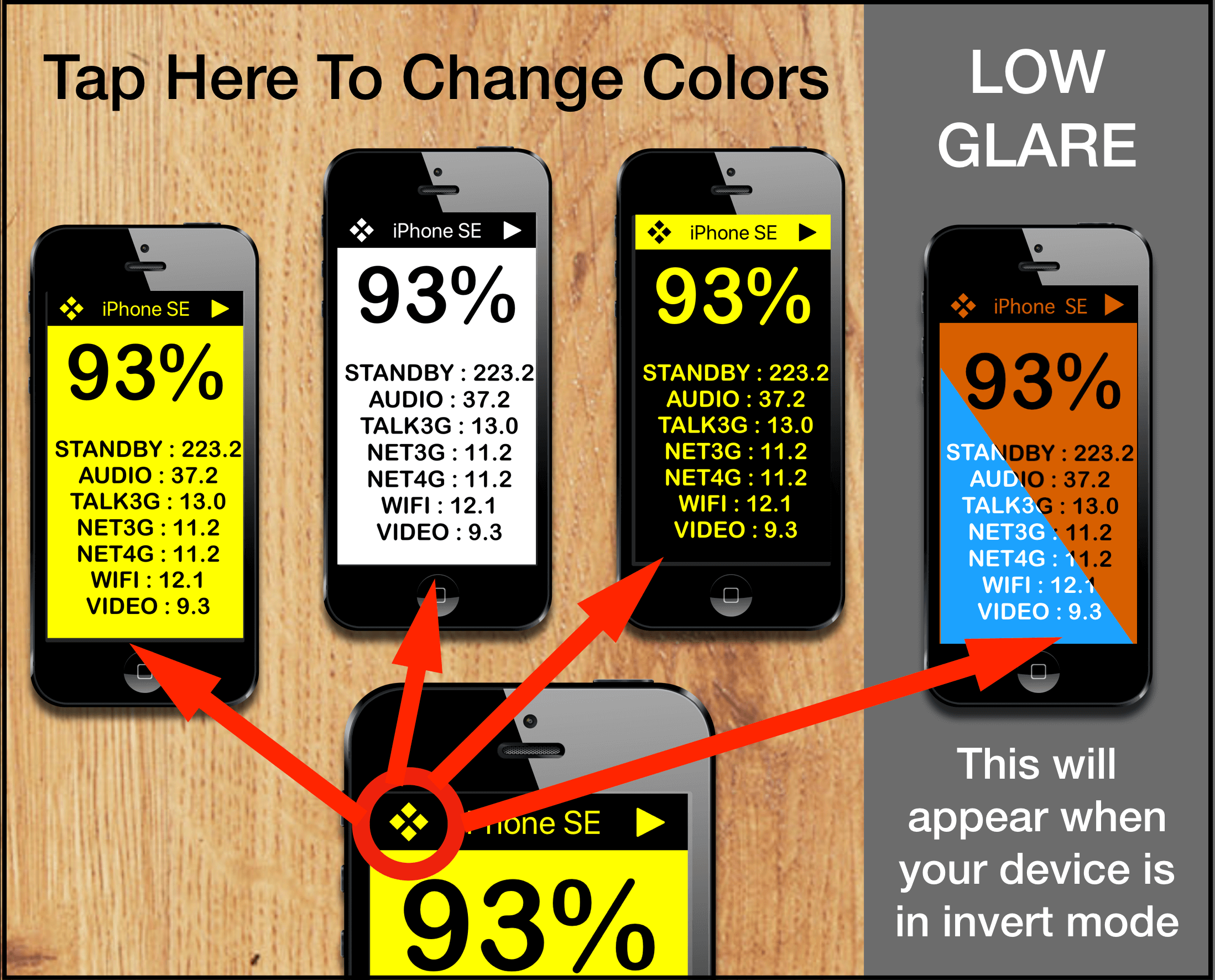 Big Battery has 4 High contrast color modes for Visual Impairment