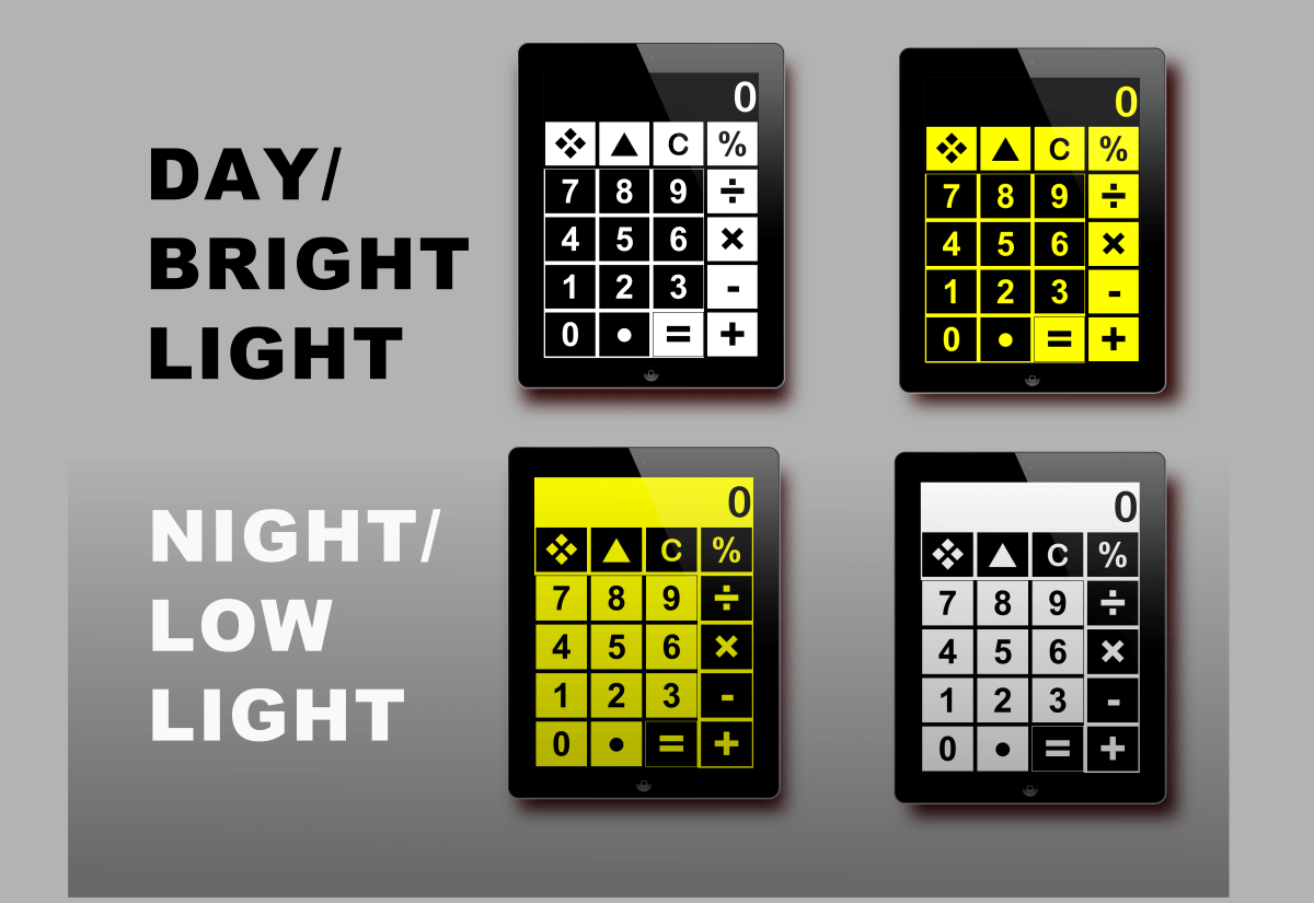 big calc has 4 color modes for low and bright light