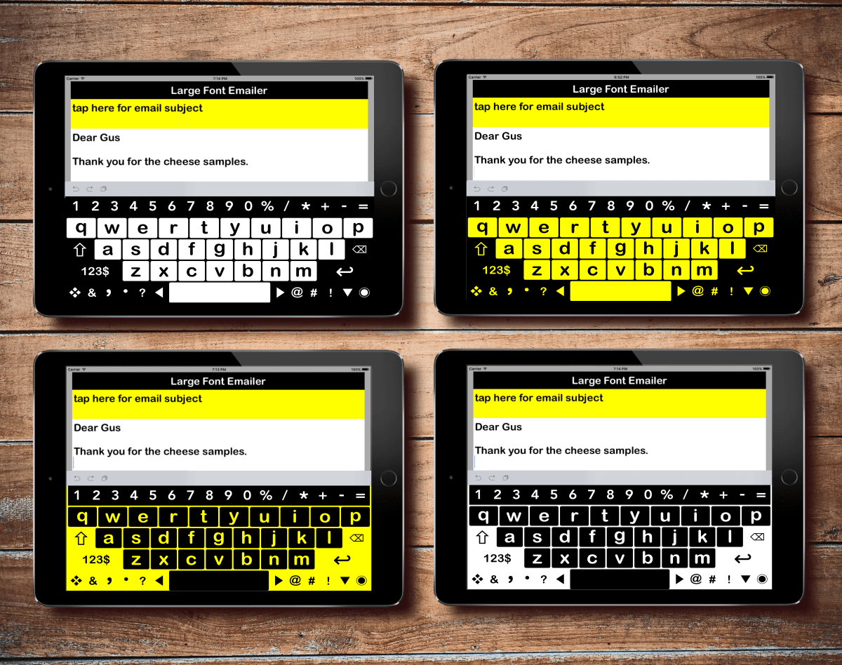large print keyboard app has 4 high contrast color modes