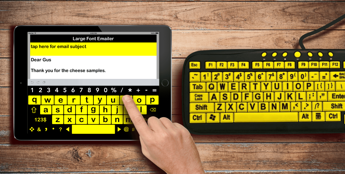 large print keyboard app for low vision and low dexterity ipad users