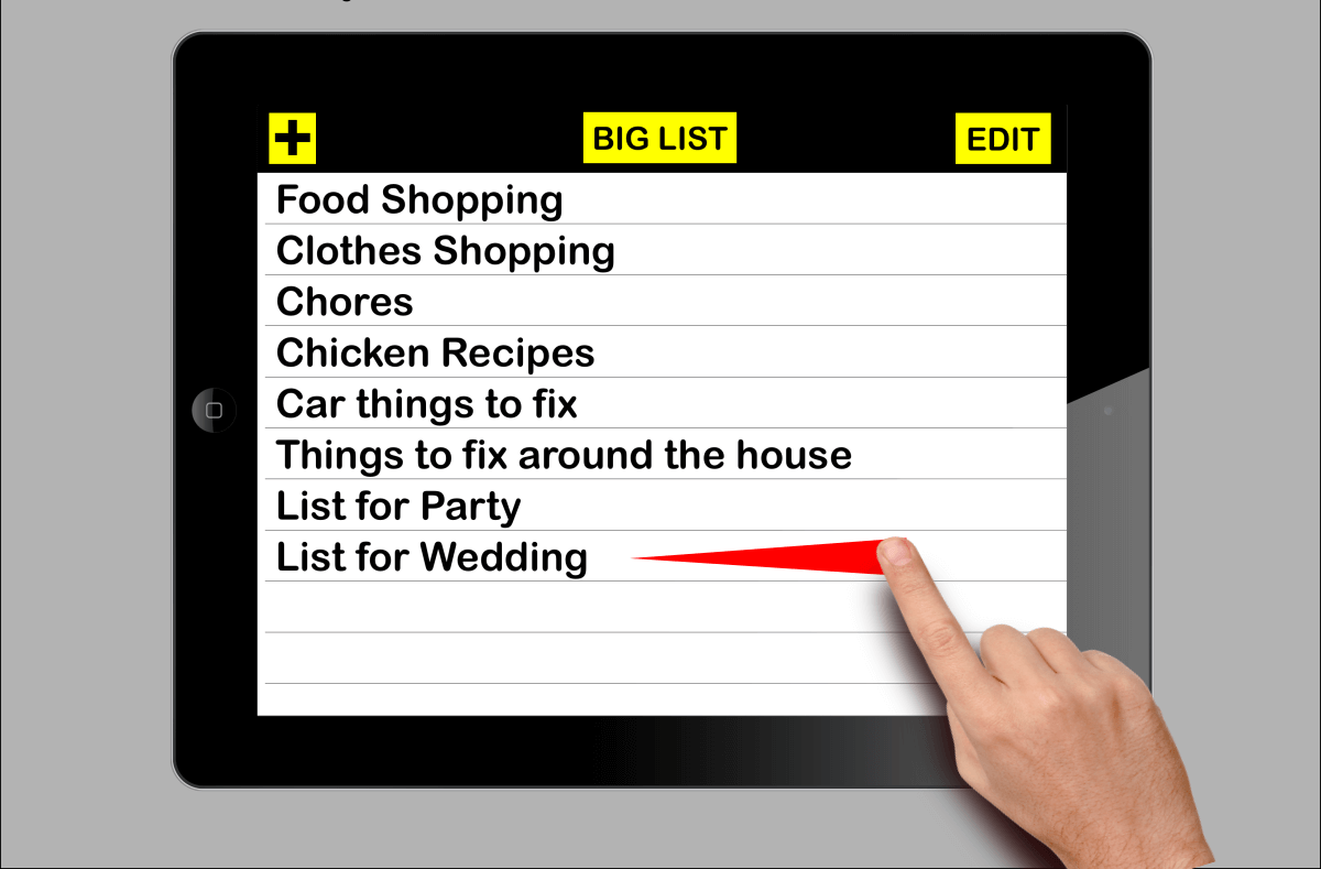 big list is a Large print list making app with big line height